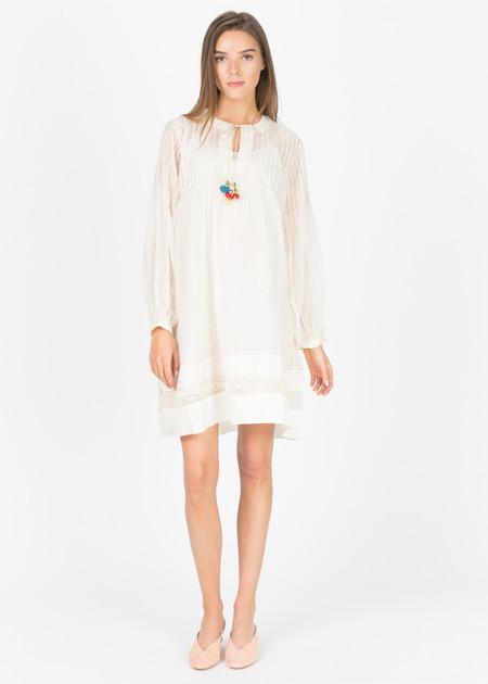 Pero Sheer Pleat-Top Dress with Slip