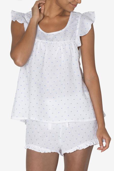 The Sleep Shirt Flounce Top Blue Tufts Linen