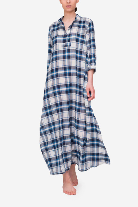 The Sleep Shirt Full Length Sleep Shirt - Blue/Navy Plaid