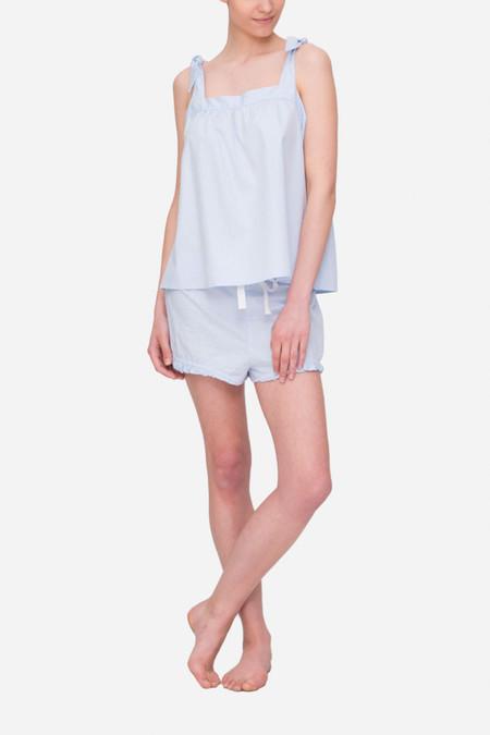 The Sleep Shirt Set - Tie Top & Ruffle Short Blue Cotton Stripe