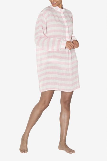 The Sleep Shirt Short Sleep Shirt Pink Horizontal Stripe