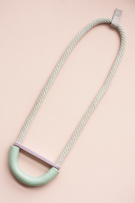 YYY Turquoise/Violet Bent Half Moon Necklace