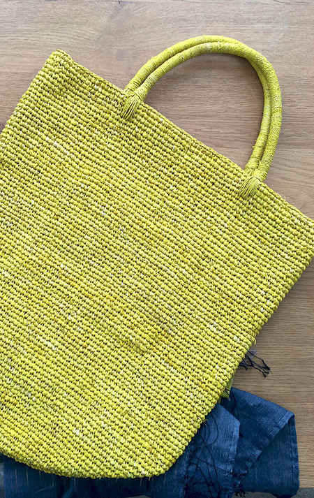Far & Wide Collective Sisal Beach Tote in Yellow