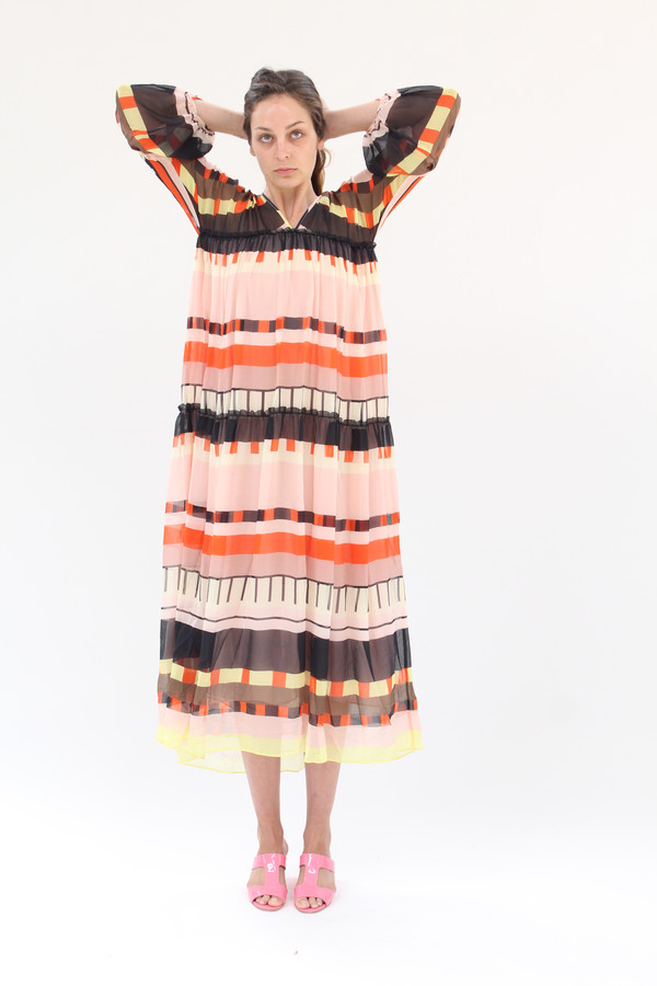 Apiece Apart Cueta Tiers Dress Abstract Soleil Stripes