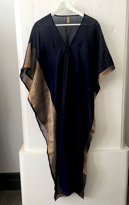 Two Navy with metallic border caftan