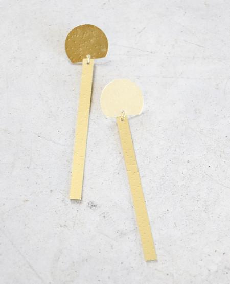 Modern Weaving Slim Semi-Circle Earrings in Brass