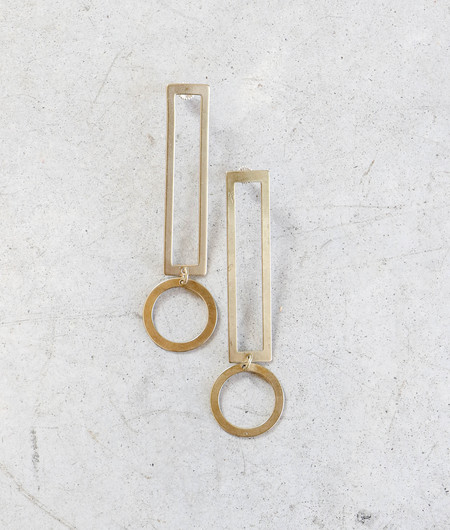 Modern Weaving Thin Exclamation Earrings in Brass