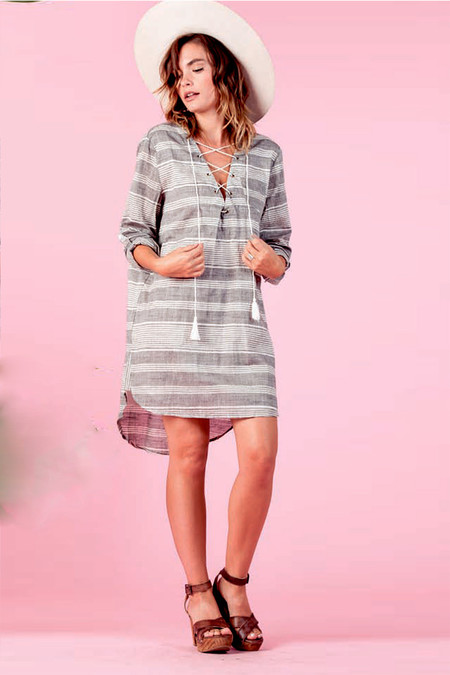LUCCA Stripe Lace-Up Shirtdress