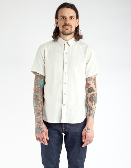 18 Waits Dylan Short Sleeve Shirt Cloudy Double Cloth