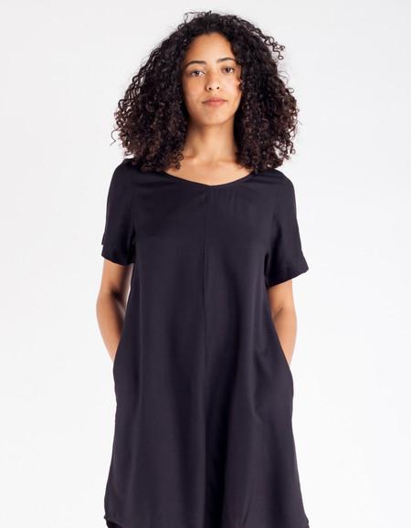 Ali Golden Woven T-Shirt Dress Black