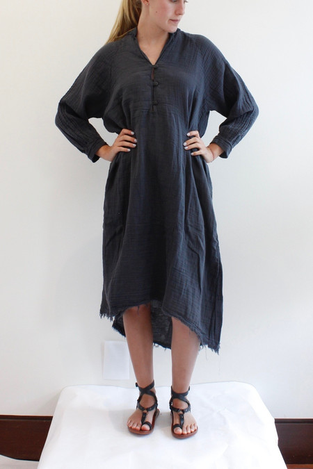 Black Crane Double Gauze dress