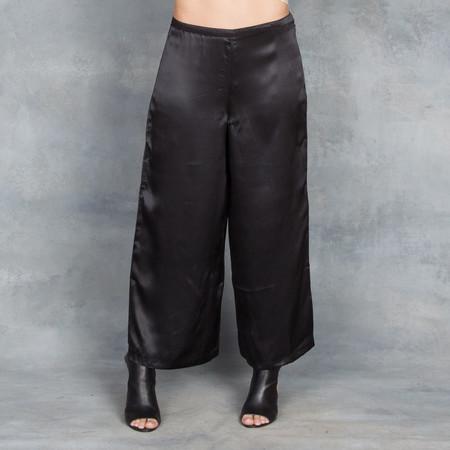 Ali Golden Wide Leg Silk Pants in Black