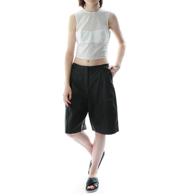 T By Alexander Wang Matte Lamb Wide Leg Shorts