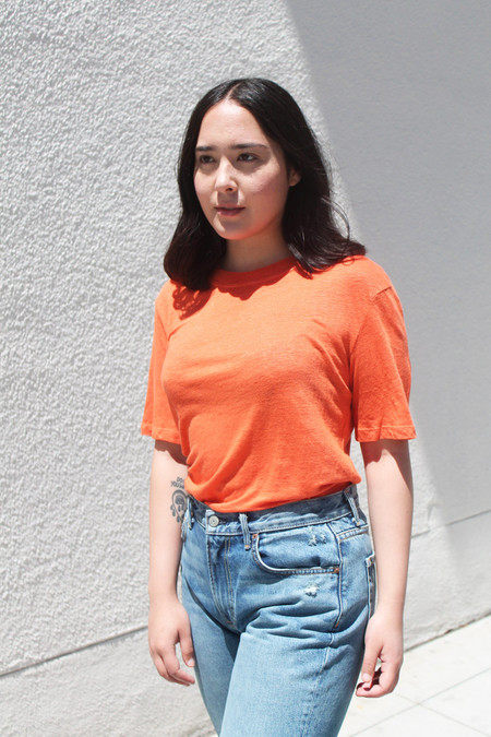 Stateside Linen Jersey Tee in Papaya
