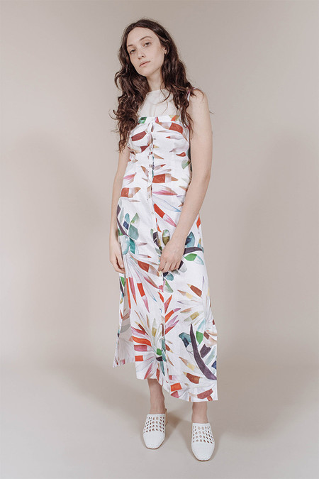 Mara Hoffman Button Up Sheath Midi Dress in White Multi