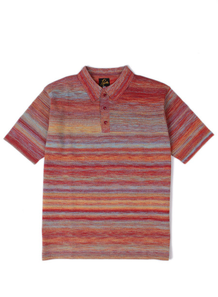 Needles Polo Sweater Splashed Pattern Red