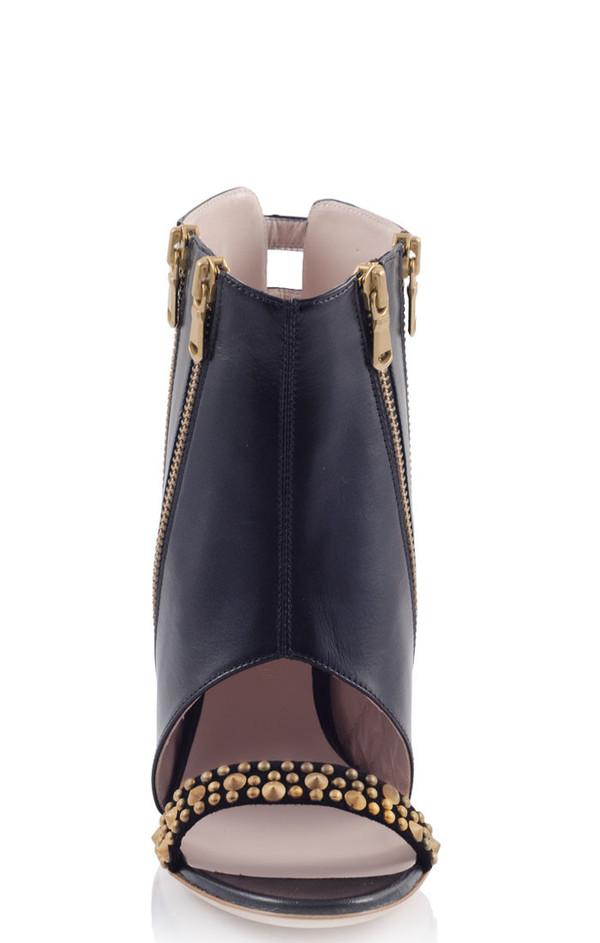 KONSTANTINA TZOVOLOU Amazon Black Leather Studded Cut-out Heels