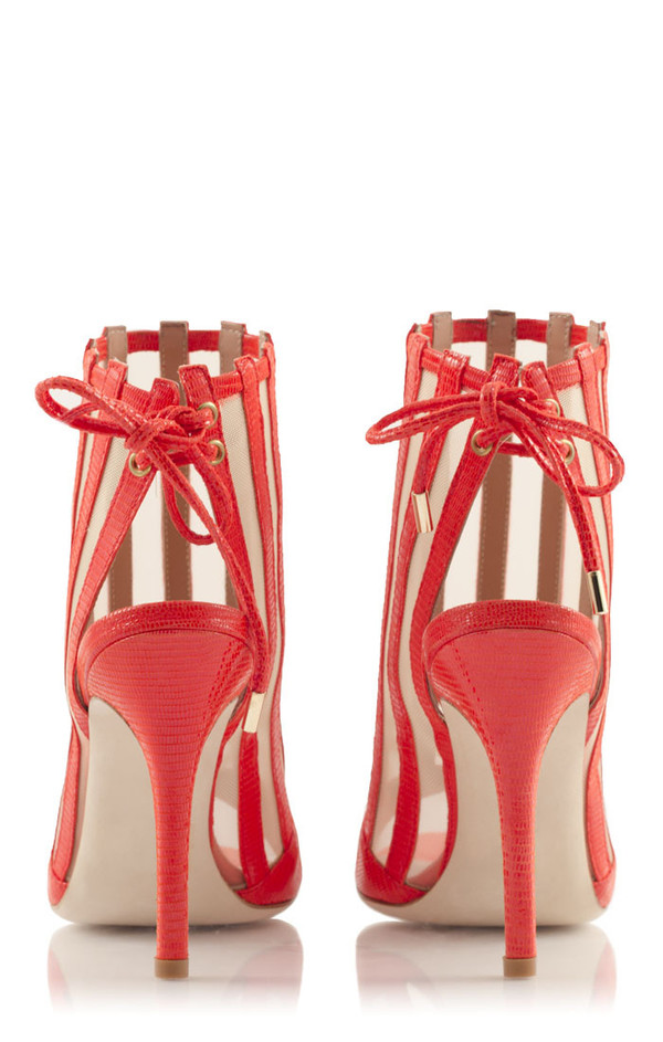 Konstantina Tzovolou Xena Red Leather and Mesh High Sandal