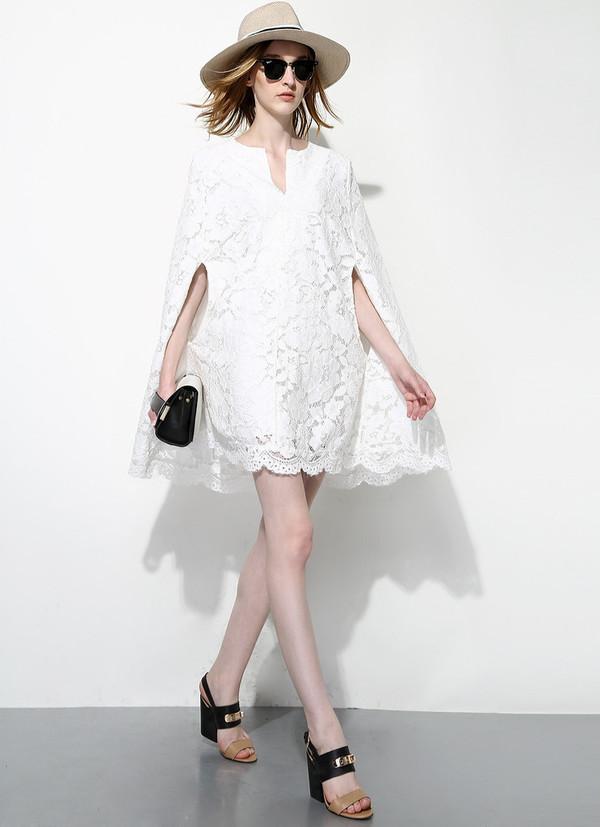 White Lace Cape Dress