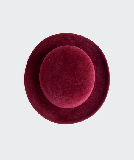 Ryan Roche Suede Small Brim Hat - Maroon