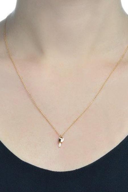 Lauren Klassen 14K Gold Tiny Lock and Key Necklace