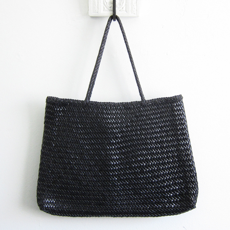 Dragon Diffusion woven leather Sophie tote - black
