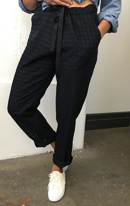 Two New York Grid Drawstring Pant with pockets