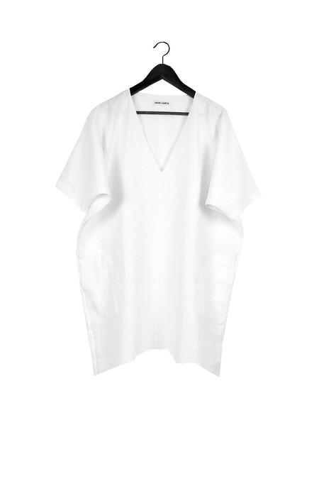 Rachel Craven Textiles Short V Neck Caftan - White Linen