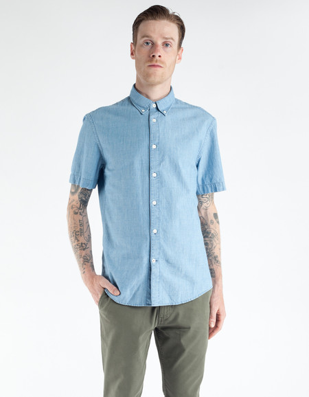 No Nationality New Derek Short Sleeve Shirt Blue