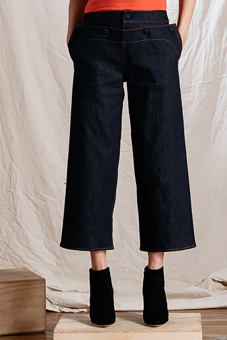 Harvey Faircloth Crop Sailor Denim Pant - DARK WASH