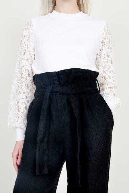 Clu - White Lace Sleeved Crewneck