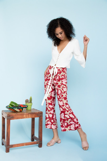 BETWEEN TEN Ringo Flared Trouser - Red Floral