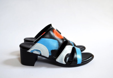 Limited Edition HOPP x Pauline de Roussy de Sales Three Strap Sandal - Black