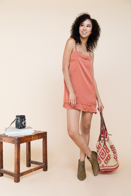 Between TenFay Slip Dress - Rust Satin