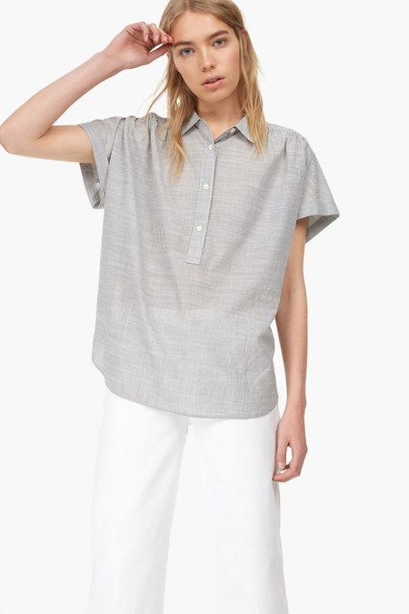 Closed Short Sleeved Cotton Blouse