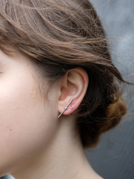 Another Feather Stick Studs In Silver