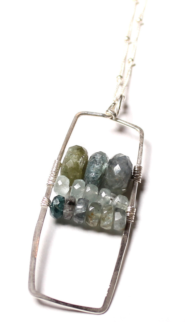 James and Jezebelle Moss Aqua Marine Paddle Necklace