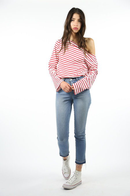 Collection Relaxed Off Shoulder Top - Red/White