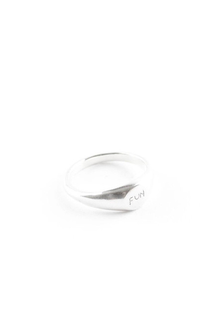 I Like It Here Club Fun Signet Ring, silver