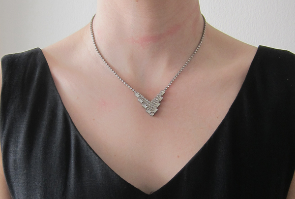 Vintage Collection Rhinestone V Necklace