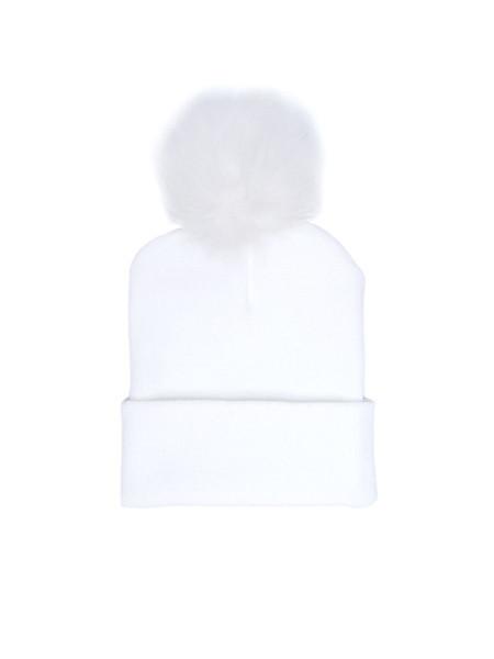 IGWT - Beaker Pom Pom Beanie / White