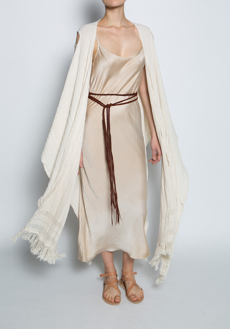 Caravana Cotton Jute Long Frayed Kaftan