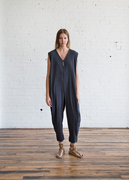 Black Crane Gathered Jumpsuit Dark Grey