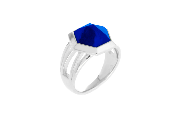 Shahla Karimi Hex Set Ring with Lapis