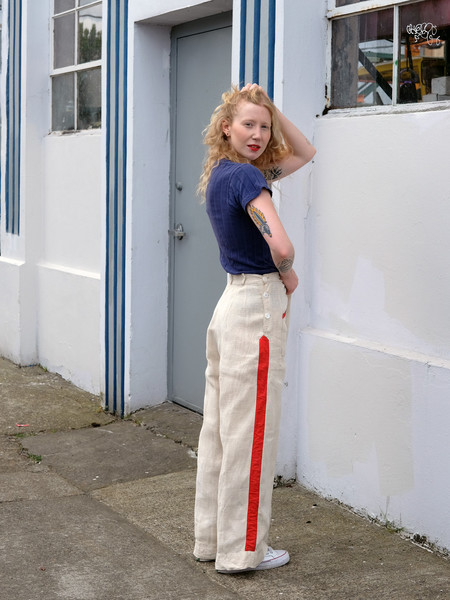Shop Boswell VINTAGE LINEN WIDE LEG PANTS WITH RED STRIPE