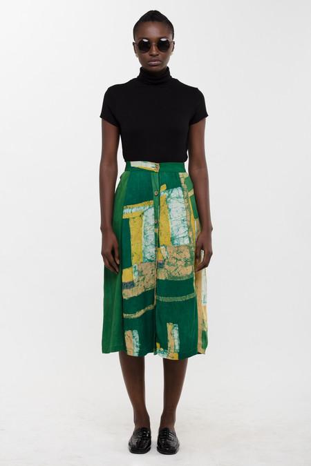 Osei-Duro Strata Panel Skirt in Green Rubics