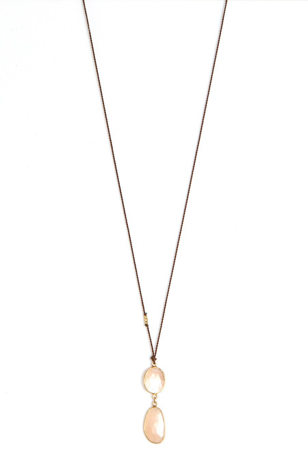 Margaret Solow Double Peach Moonstone Necklace