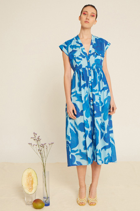 Heinui Neva Long Dress in Aqua