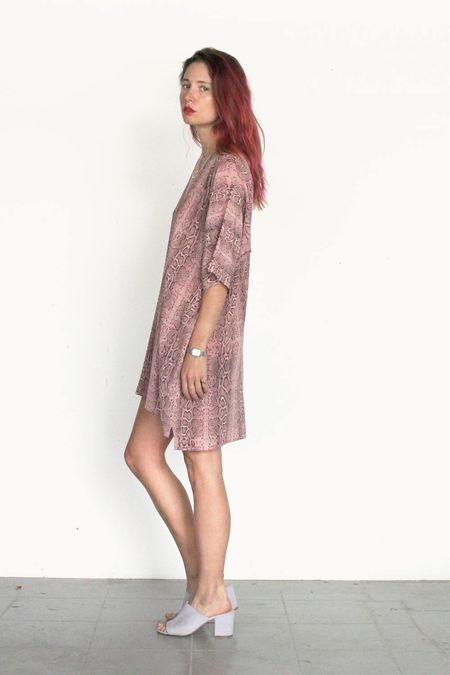 Strathcona Pink Snake Skin Silk Tunic Dress