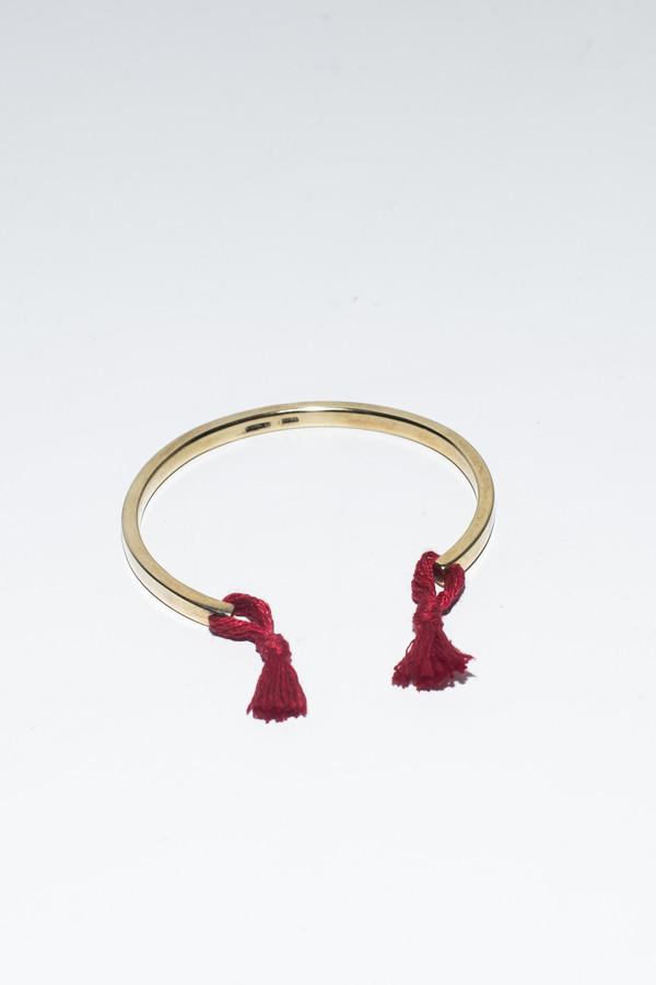 Nikolai Rose Red Knotted Cuff- Gold Tone